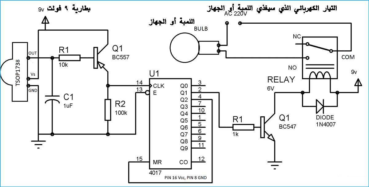 دائرة تحكم عن بعد باستخدام ريموت التلفاز لتشغيل لمبة أو أي