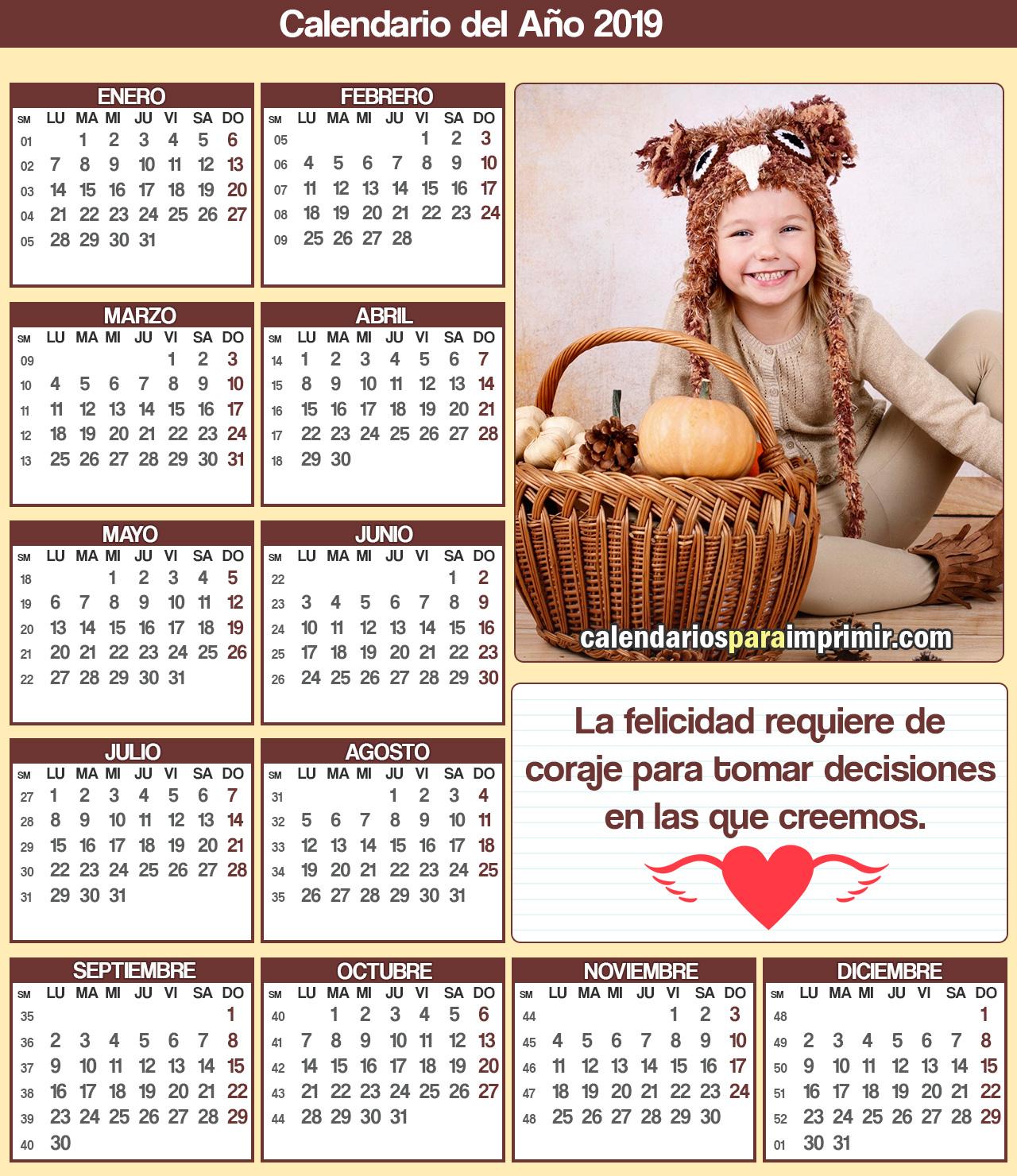 calendario con frases de felicidad 2019