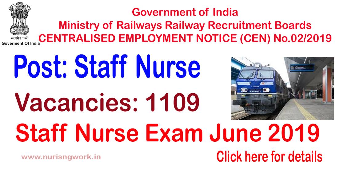NURSING JOBS: Indian Railway Recruitment Exam- June 2019
