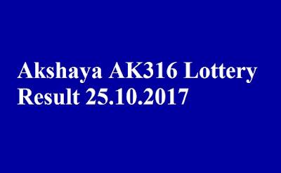 Akshaya AK316 Lottery Result 25.10.2017