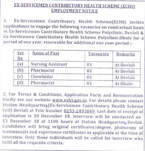 ECHS Pharmacist Recruitment - DHULE/DEVLALI | Ex-Servicemen Contributory Health Scheme