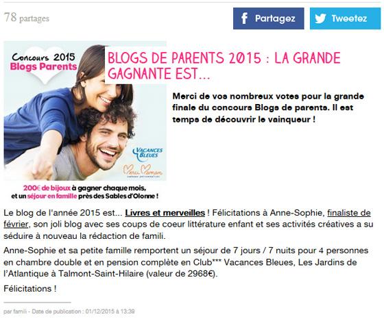Blog gagnant du concours Blogs de parents 2015 famili Décembre 2015
