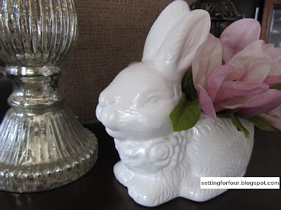 DIY Pottery Barn Knock Off Easter Rabbit Tutorial! Bring PB style to your home decor without the price tag! This is an easy and inexpensive DIY to make for your side table or centerpiece for your Spring tablescape!