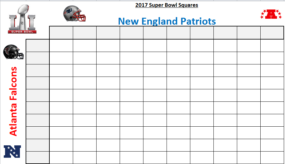 Excel Spreadsheets Help: Super Bowl Squares Template 2017