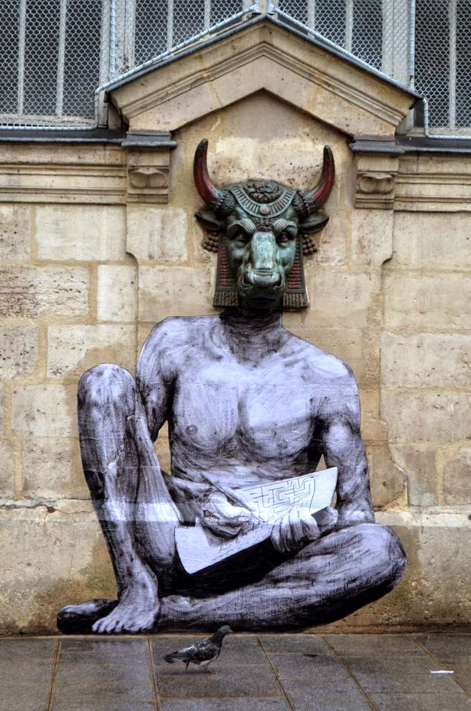 """Constantly busy on the streets of Paris in France, Levalet just unveiled a brand new piece which is entitled """"Minotaur""""."""