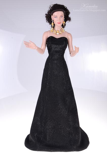 """Handmade evning black dress for 16"""" doll"""