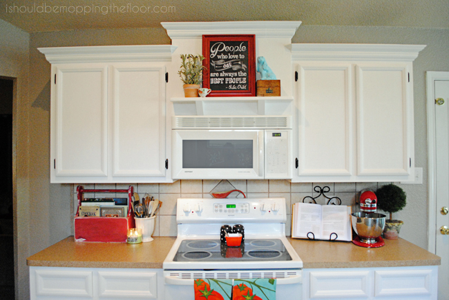 Creating Stacked Height Cabinetry With Builder Grade Cabinets Includes Tutorial To Add A Shelf Above