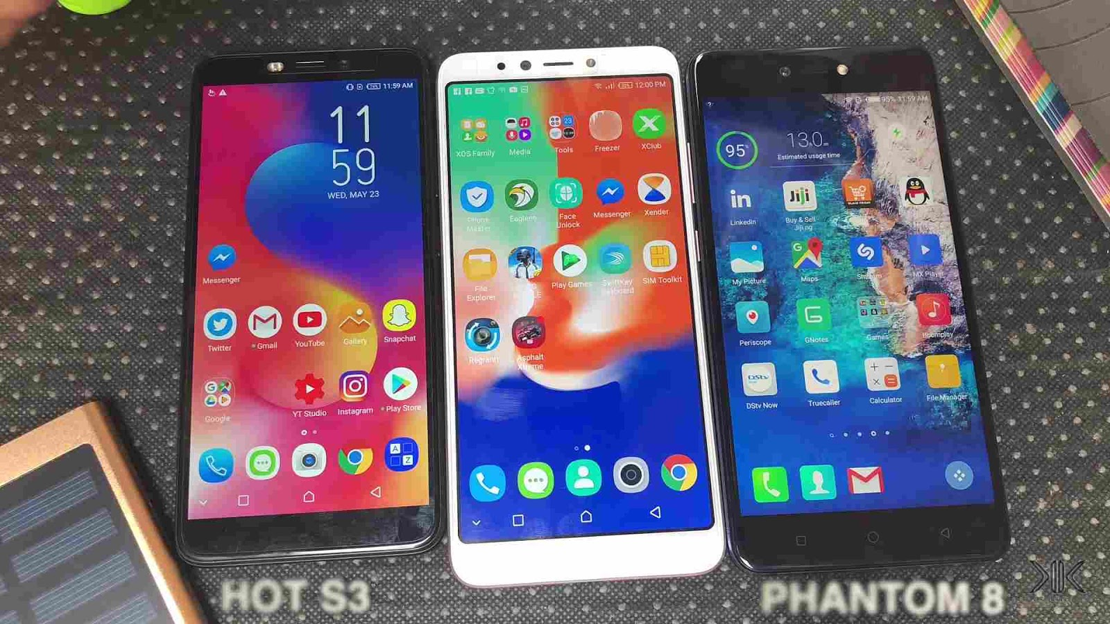 Infinix Hot 6 Pro side by side the Hot S3 and Tecno Phantom 8