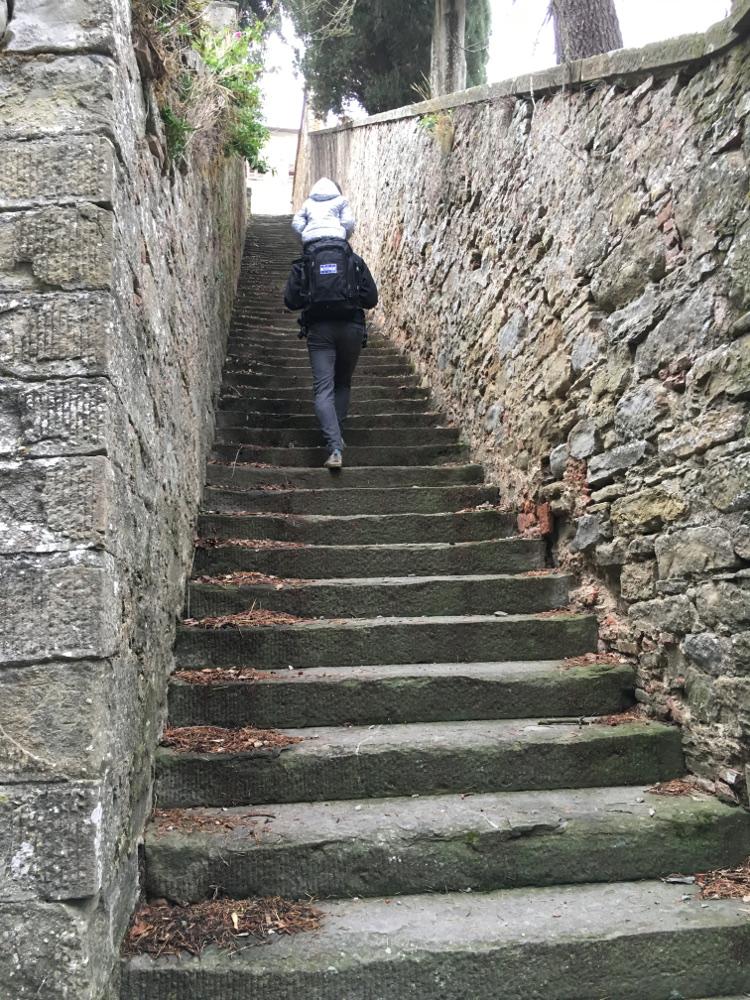 scale che portano al santuario di Cortona