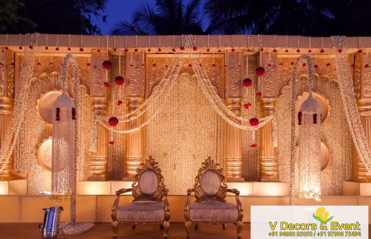 V Decors And Events Wedding Reception Stage Decoration In Mahabalipuram
