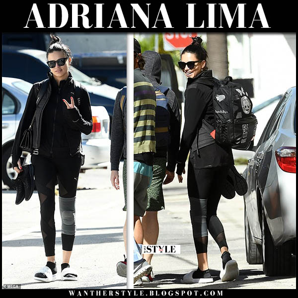 Adriana Lima in black puma leggings and white fur fenty puma slides model workout style november 28