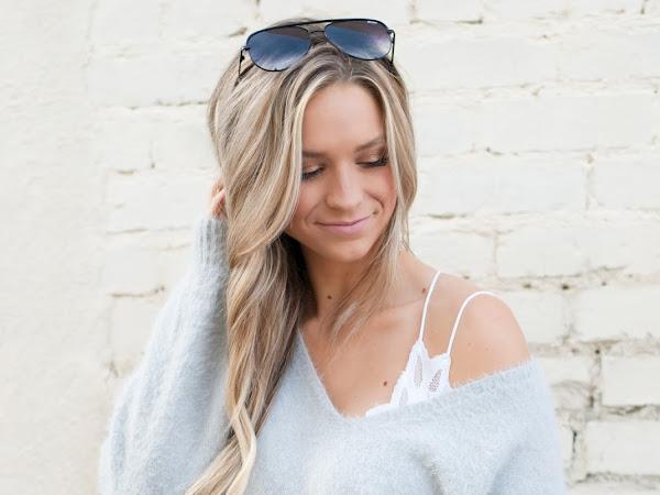 Fuzzy Balloon Sleeve Sweater