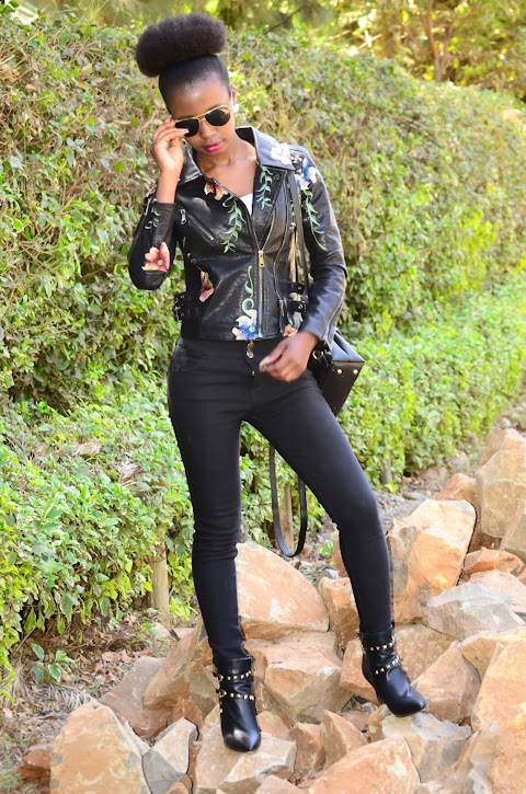 Embroidered Leather Jacket and Studded Booties