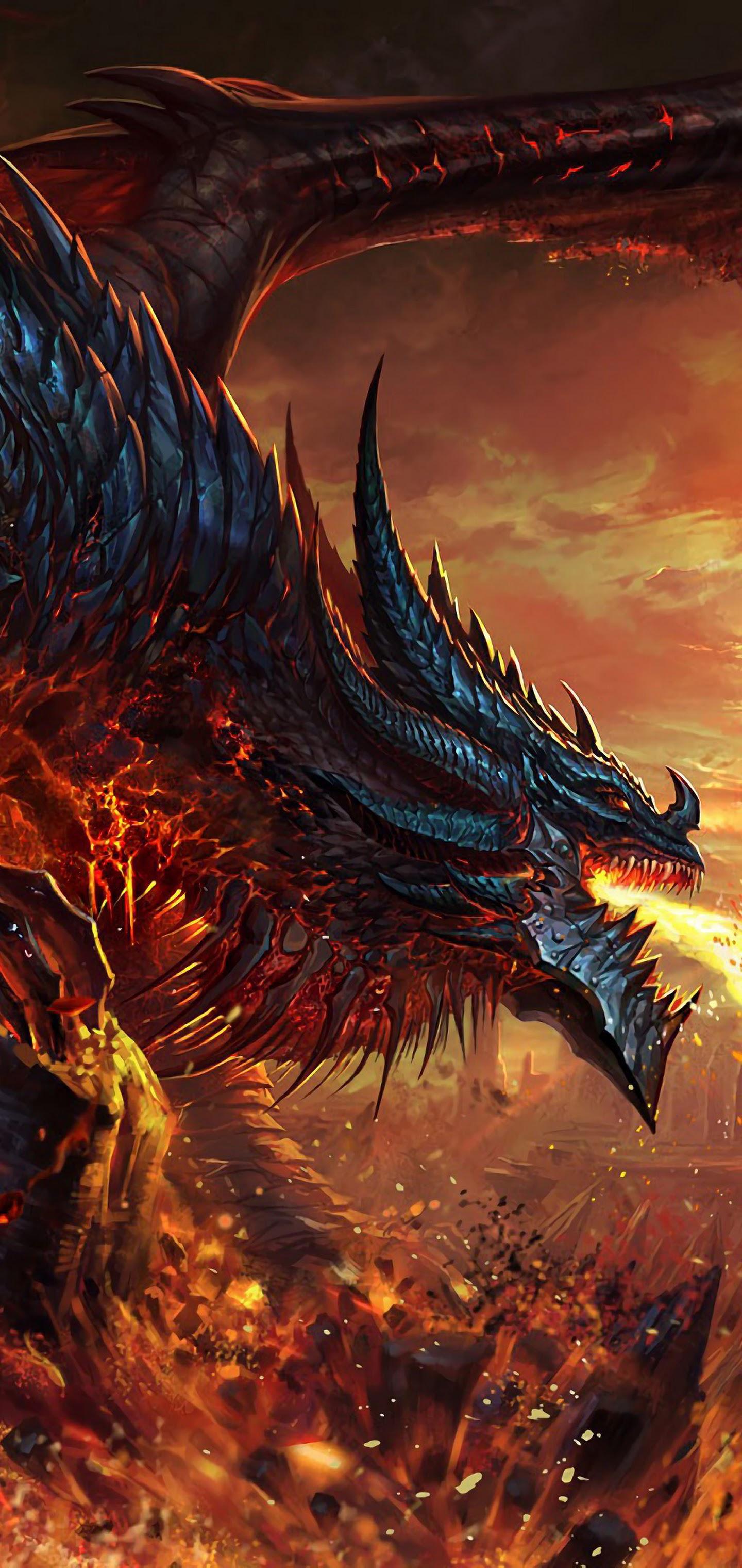 dragon fire breath fantasy uhdpaper.com 4K 73
