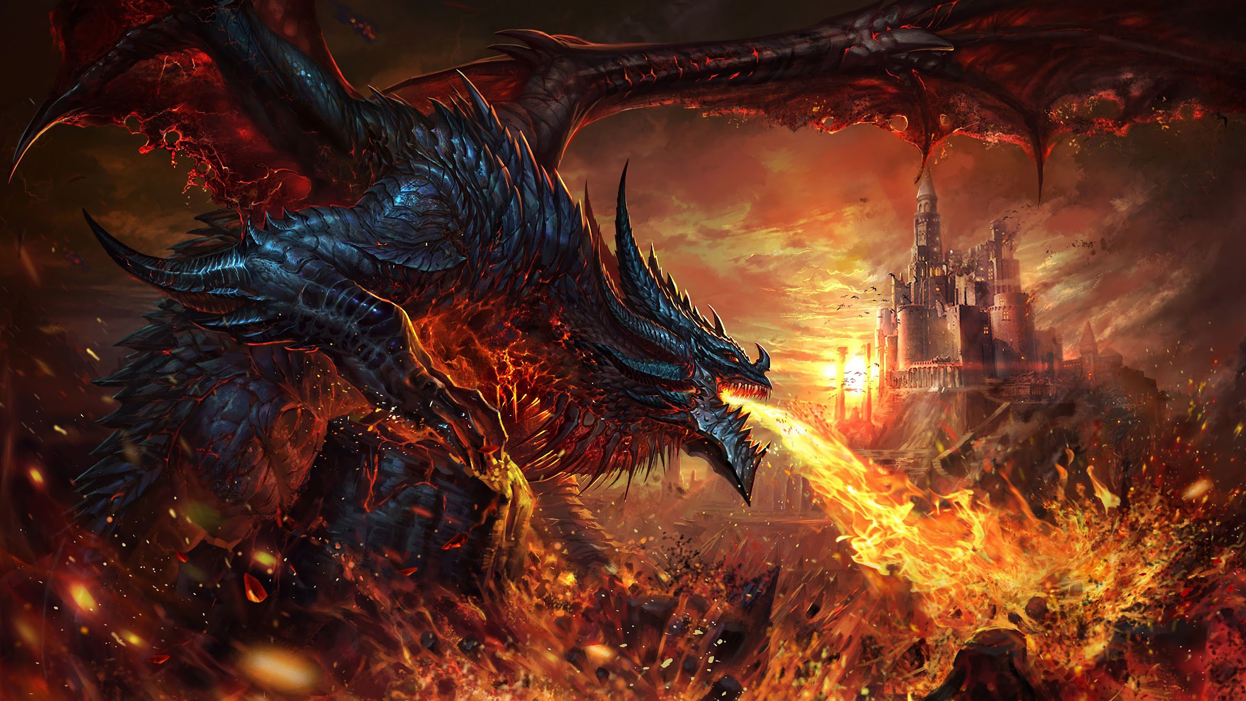 Dragon Fire Breath Fantasy 4k Wallpaper 73