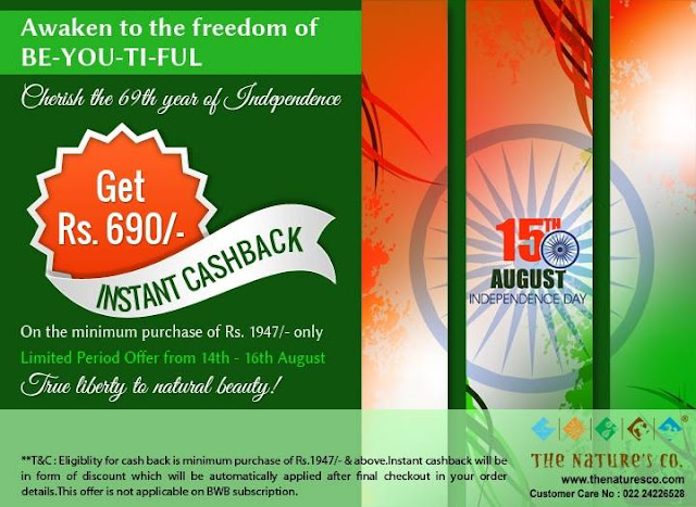 The Nature's Co. Independence Day Cashback Offer on your orders!