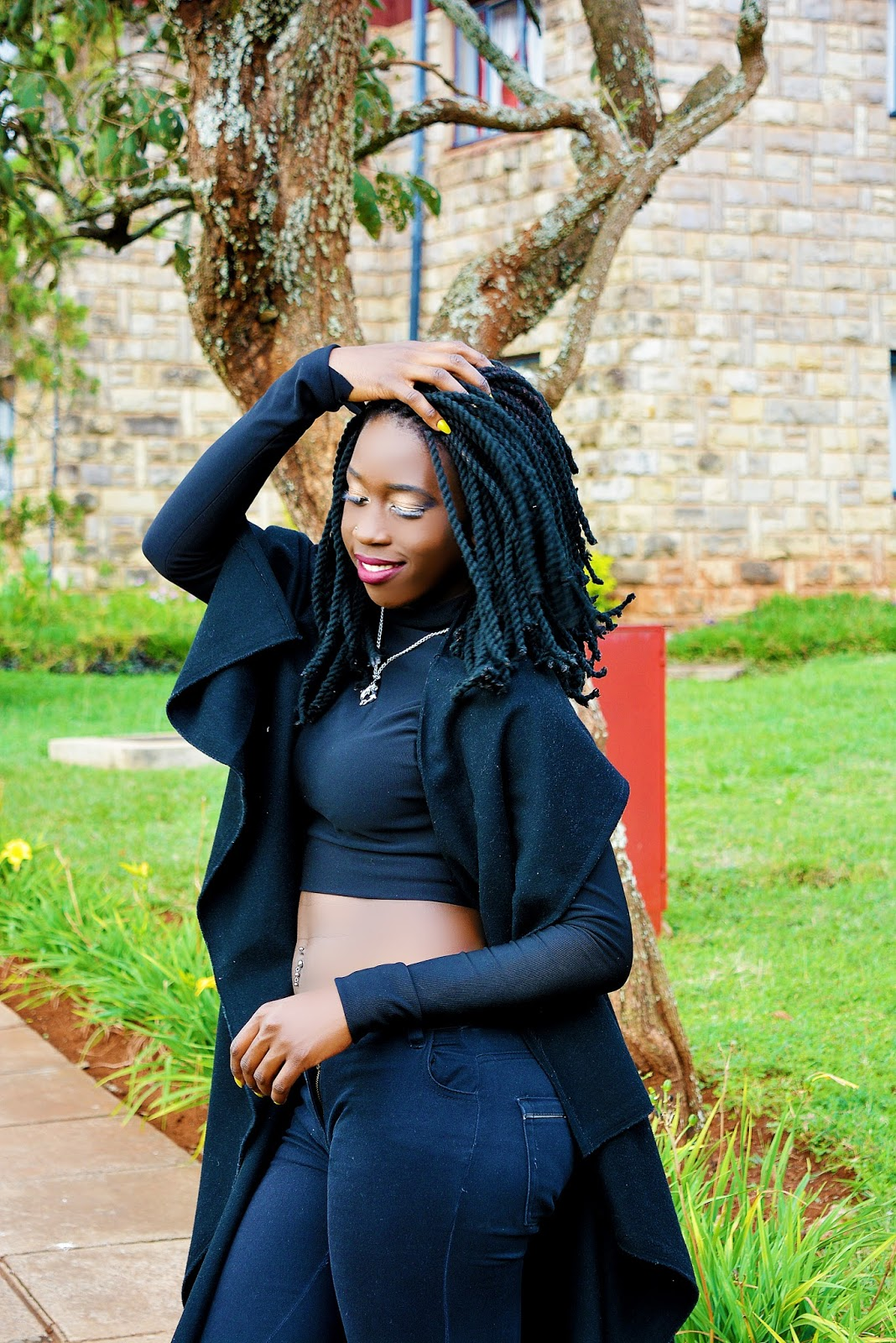 Black crop top, bare back crop top, what to wear kenya, our style kenya, waterfall coat, rainy season outfit, sminter outfit, best fashion blogger Kenya, style with ezil, hair bloggers, ezil,
