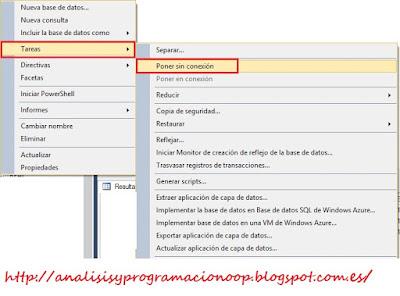 poner base de datos sin conexión, SQL Server