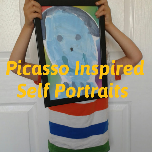 Picasso inspired self portraits,  home education, homeschool