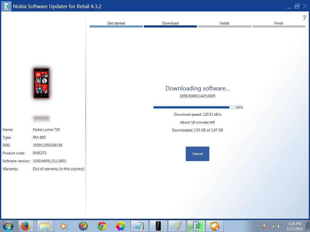 Nokia lumia 720 rm-885 latest flash file/firmware download.