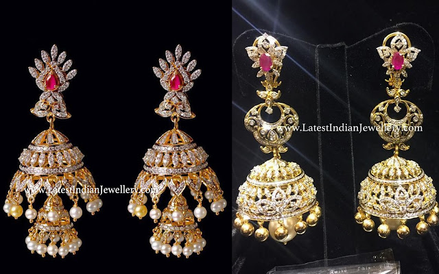 Latest Diamond Long Jhumka designs