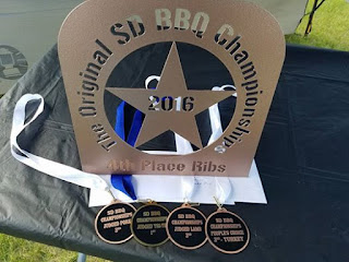 4th in KCBS ribs, 1st judged tri-tips, 3rd lamb judged, 3rd pork judged, 3rd in people's choice turkey.