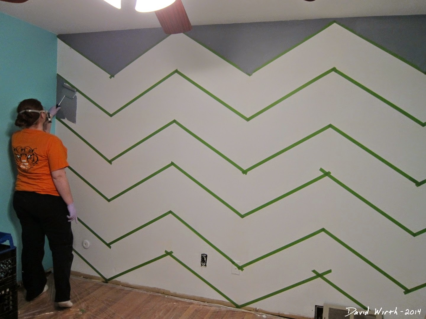 zig zag wall, chevron, baby room,