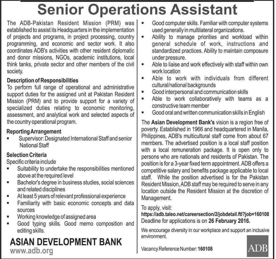 Karachi (Sindh) Jobs ---------------- 20/2/2016
