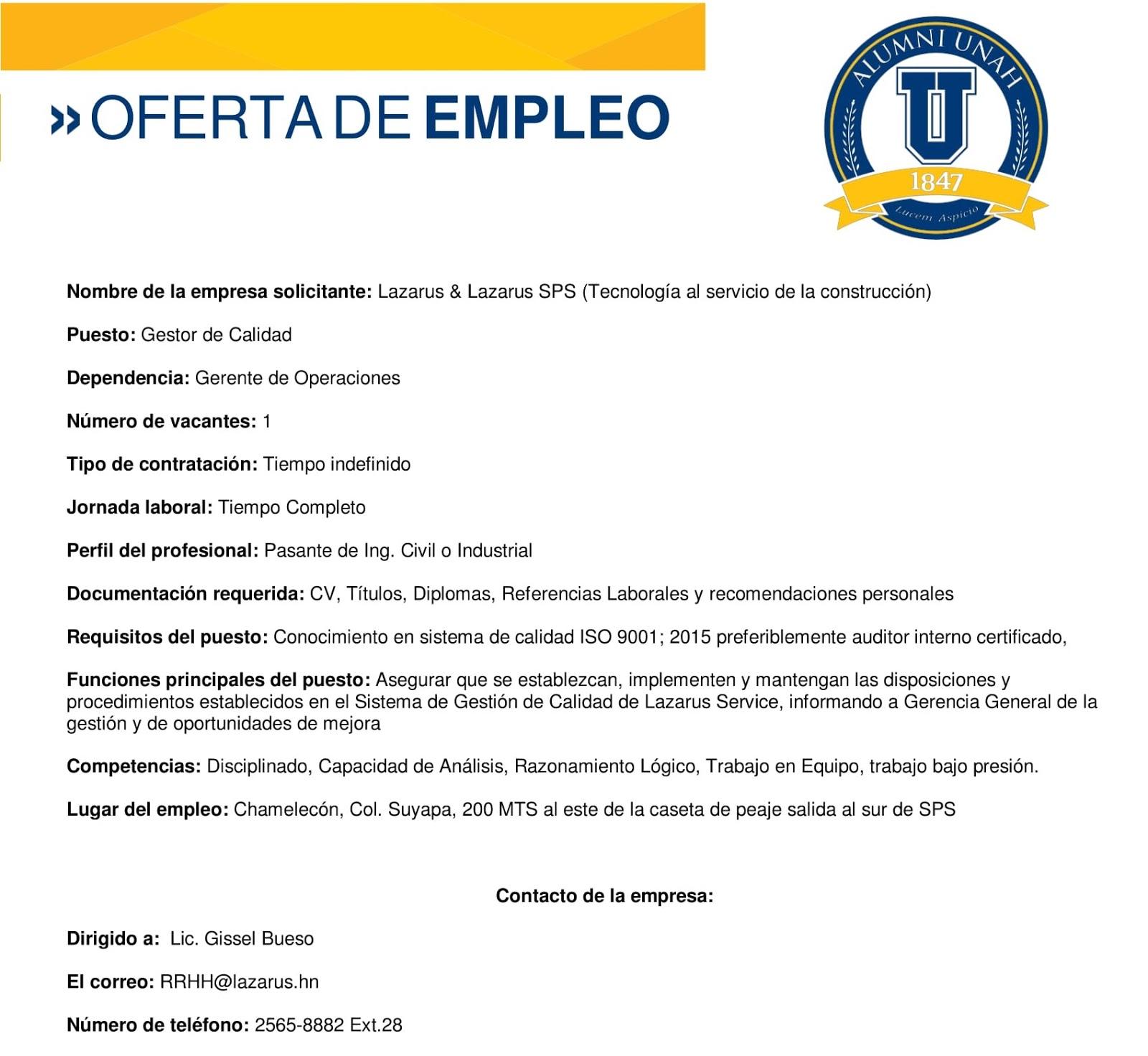 Varias ofertas de empleo san pedro sula empleos en - Oferta de trabajo ...