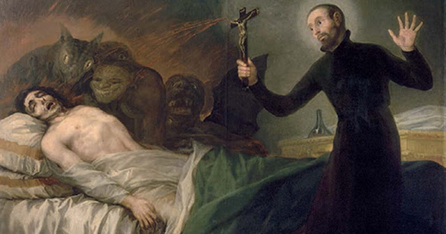 A painting showing Saint Francis Borgia, a 16th century saint, performing an exorcism.