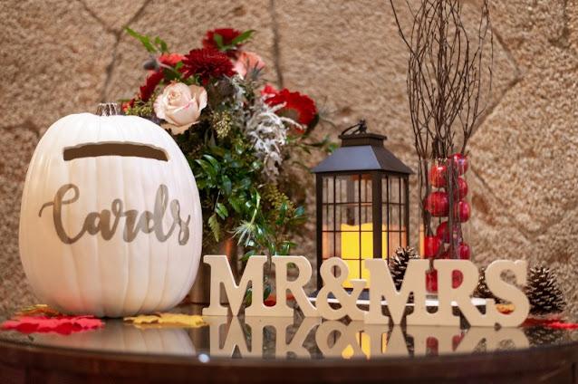 fall decor table props and pumpkin card box