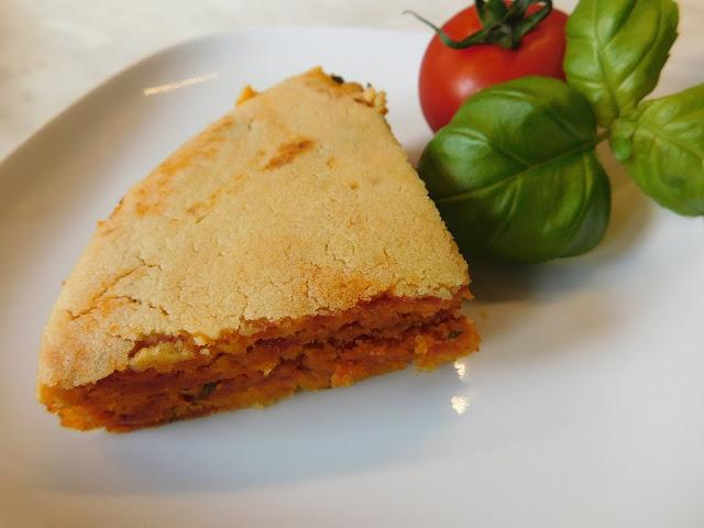 Baumkuchen Rezept, Veganer Baumkuchen, Deftiger Baumkuchen, Veganer deftiger Baumkuchen, Baumkuchen Tomate Basilikum, Tomatenbaumkuchen