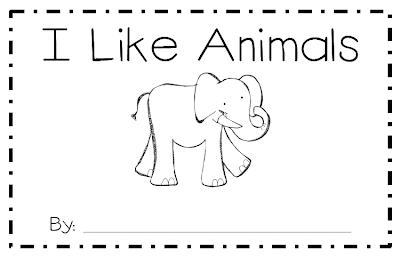 Kindergarten SuperKids: I Like Animals Emergent reader freebie