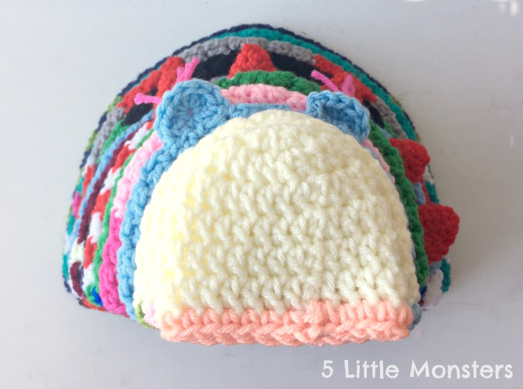 29205aa5b 5 Little Monsters: Basic Double Crochet Hats: Preemie-Adult