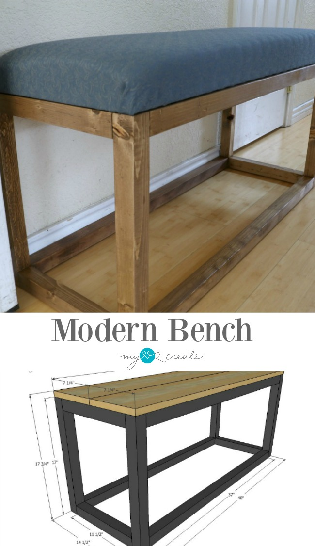 Build this simple and beautiful Modern Bench with free building plans and picture tutorial at MyLove2Create!