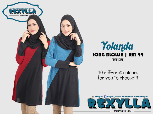 rexylla, long blouse, two tone, yolanda collection