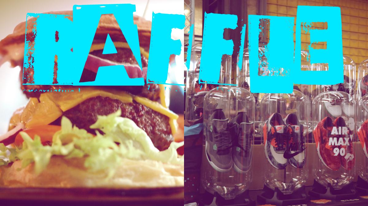 Hamburger und Sneaker mit Schriftzug Raffle
