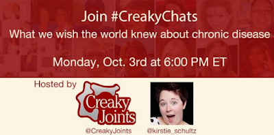 picture advertising creaky chats with kirsten and creaky joints on Monday october 3 at 6 pm eastern time on the topic of 'what we wish the world knew about chronic disease'