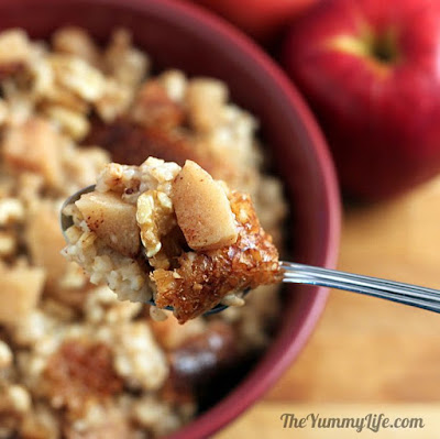 Overnight, Slow Cooker, Apple Cinnamon Steel-Cut Oatmeal from The Yummy Life featured on SlowCookerFromScratch.com