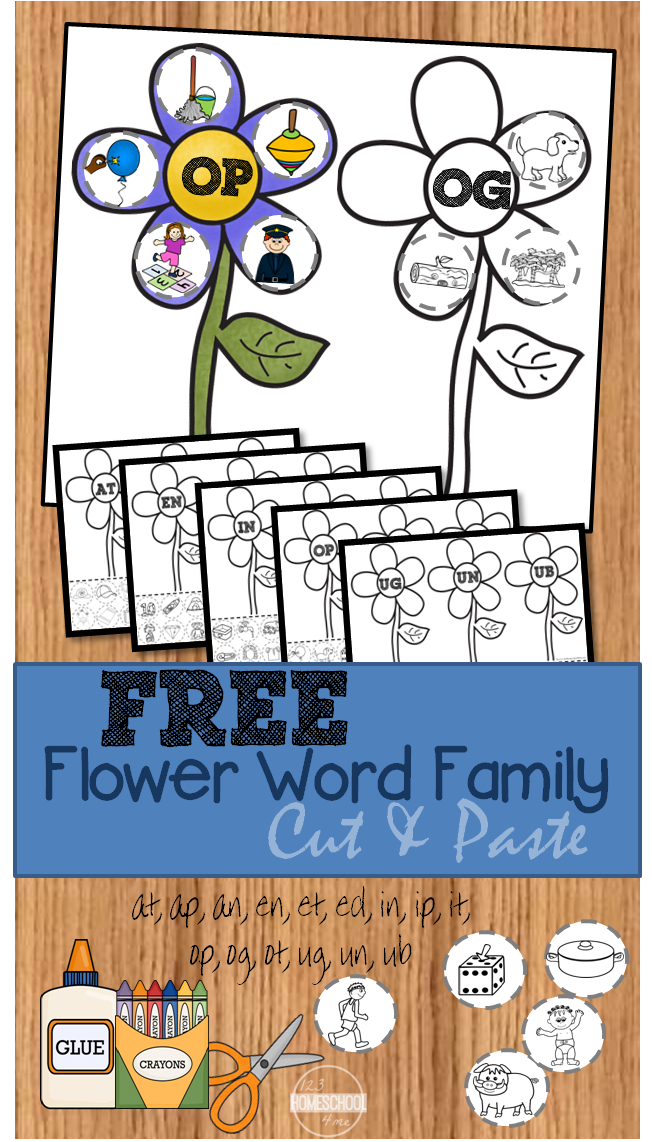 Free Flower Word Family Cut Amp Paste