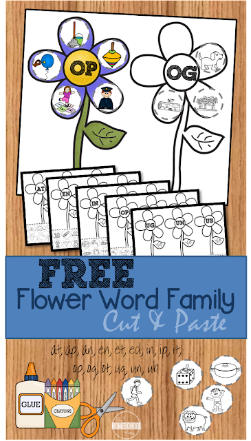 FREE Flower Word Family Worksheets - FUN cut and paste phonics practice for Preschool, Kindergarten, 1st grade, and 2nd grade kids