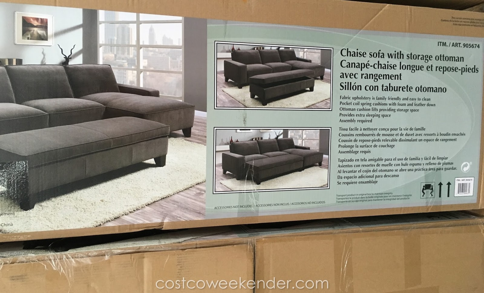 Chaise Sofa With Ottoman Costco 60 Bed Sectional Storage Weekender