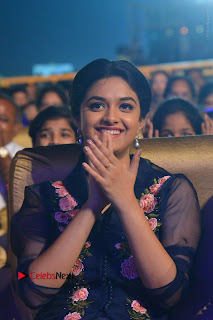 Actress Keerthi Suresh Stills in Blue Long Dress at Nenu Local Audio Launch  0051.JPG