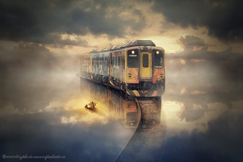 22-The-Train-Even-Liu-Surreal-Photo-Manipulations-and-the-Lantern-www-designstack-co
