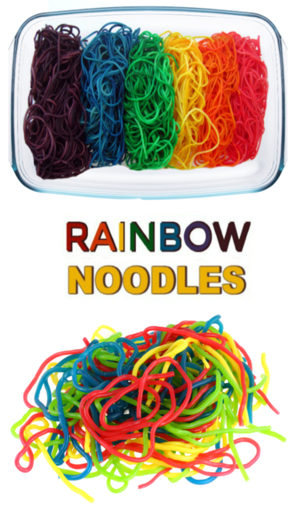 Are you ready to play with the rainbow? Making this colorful rainbow spaghetti is easy, and there are so many fun ways for kids to play and explore! #rainbowdyednoodles #rainbownoodles #rainbowspaghetti #sensoryactivitiestoddlers #sensoryactivities #sensorybins #coloredpasta #colorednoodlessensory #howtodyepasta #howtodyenoodles #growingajeweledrose
