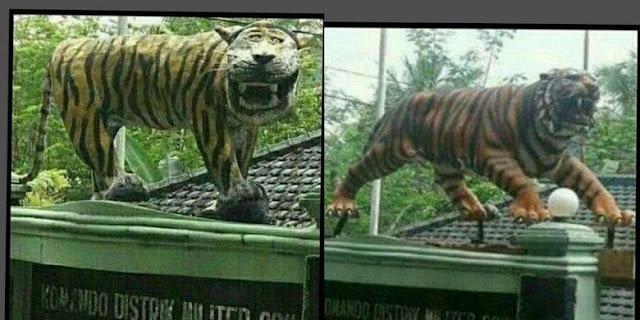 Sebelum dan Sesudah macan senyum direkonstruksi
