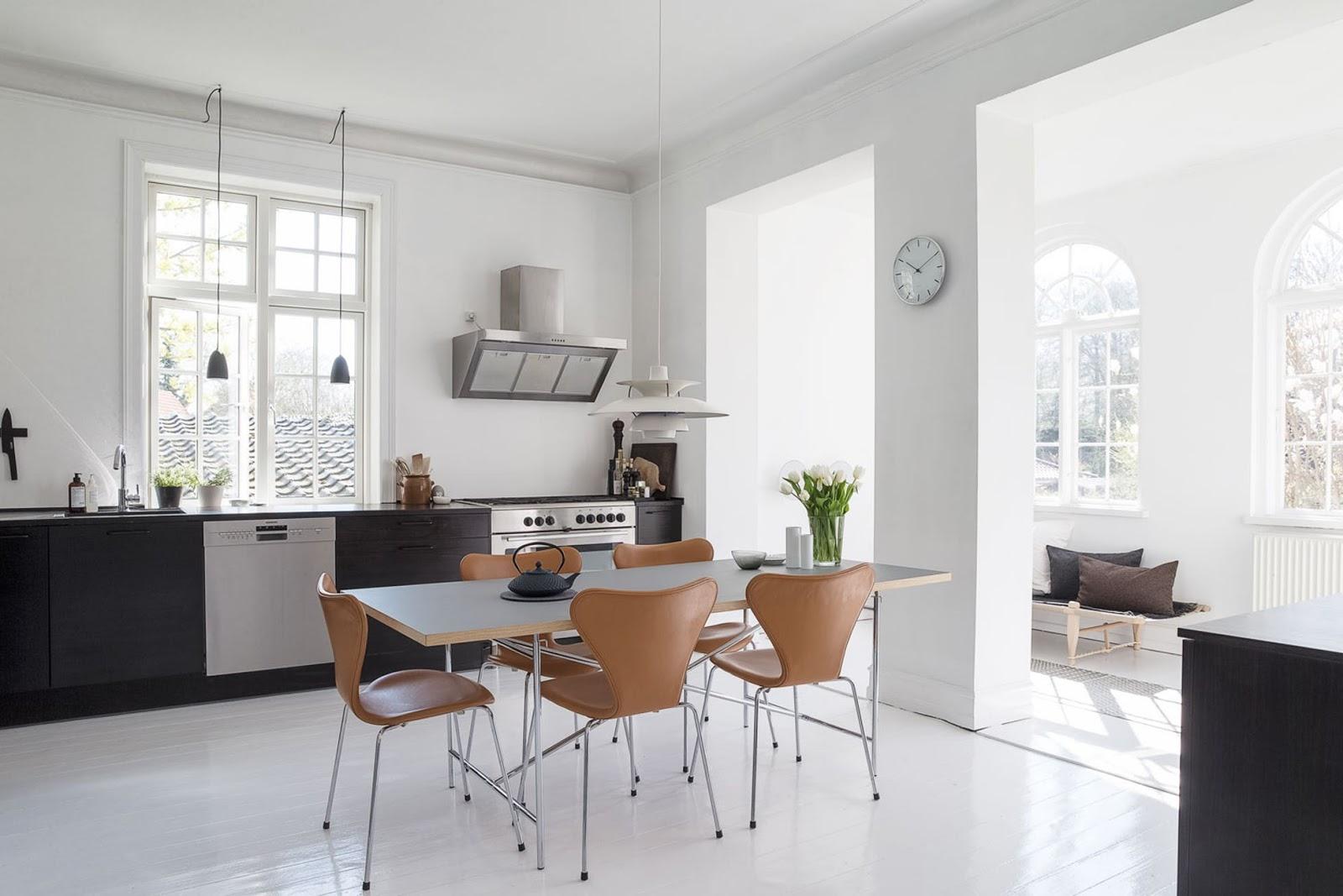 black and white interior design, nordic home, black furniture, white floor, monochrome decor