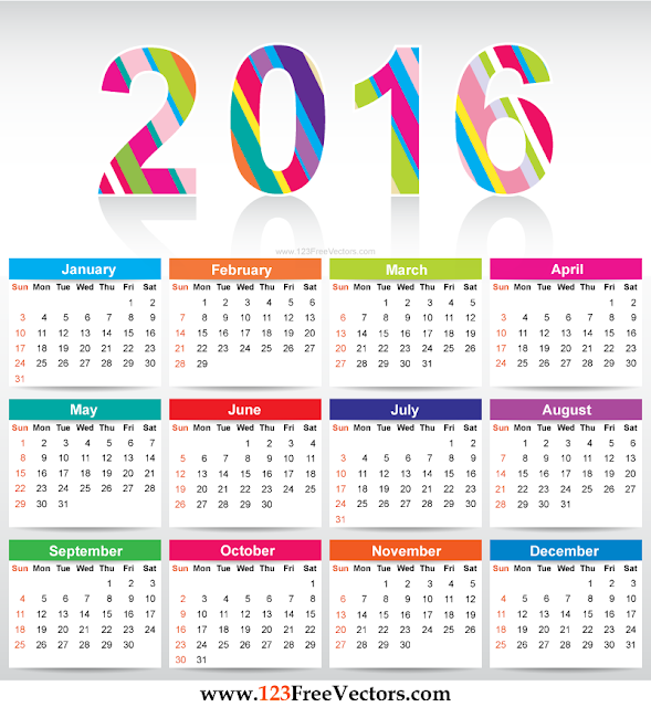 2016 Colorful Printable Calendar, 2016 Colorful Calendar