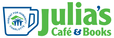 Logo for Julia's Cafe White mug outlined in blue with Habitat for Humanity Logon on it. Julia's Cafe and Books in Green with apostrophe and ampersand sign in blue