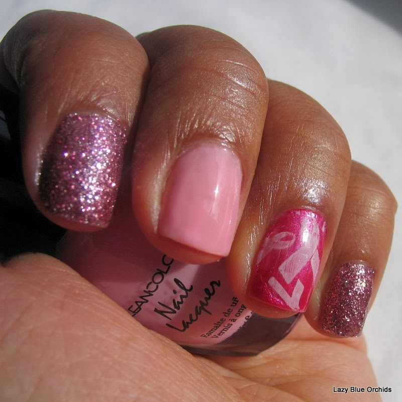 Lazyblueorchids Breast Cancer Awareness Nail Art